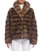 Shawl-Collar Horizontal Sable Jacket