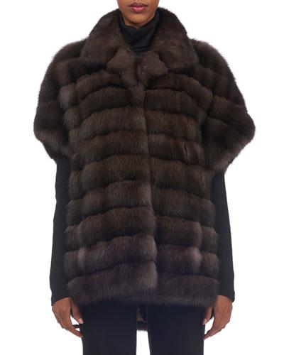 Cap-Sleeve Sable Fur Vest