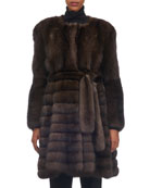 Belted Vertical Sable Fur Stroller Coat with Horizontal Flare Skirt