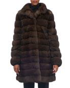 Horizontal Sable Fur Stroller Coat