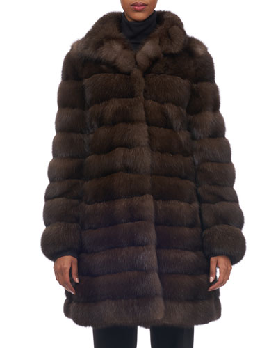 Horizontal Sable Fur Stroller Coat