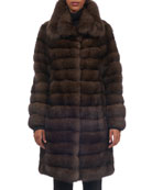 Spread-Collar Sable Fur Stroller Coat
