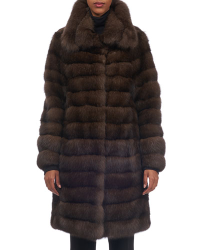 Spread-Collar Sable Fur Stroller Coat