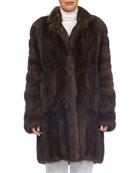 Notched-Collar Sable Fur Stroller Coat