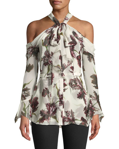 Uriel Cold-Shoulder Wallpaper-Print Silk Voile Blouse