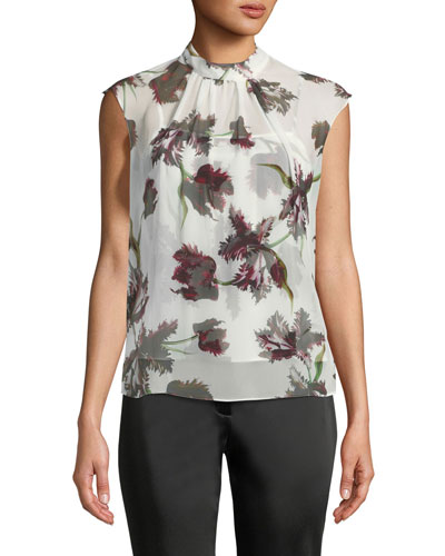 Iona High-Neck Sleeveless Wallpaper-Print Silk Voile Top