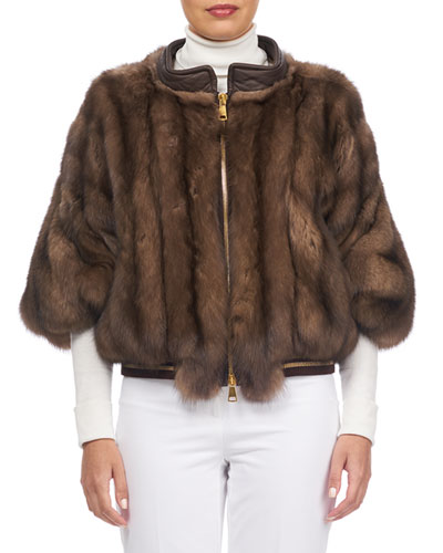 Sable Fur Zip-Front Jacket with Leather Trim