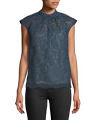 Erdem Iona Cap-Sleeve Lace Top