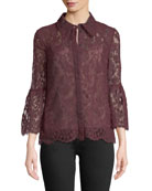 Alita Button-Front Bell-Sleeve Lace Top