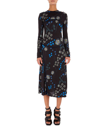 Redon Floral-Print Sleeveless Racerback Midi Dress with Bolero Overlay