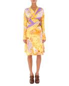Redon Twisted Jacquard Long-Sleeve Dress