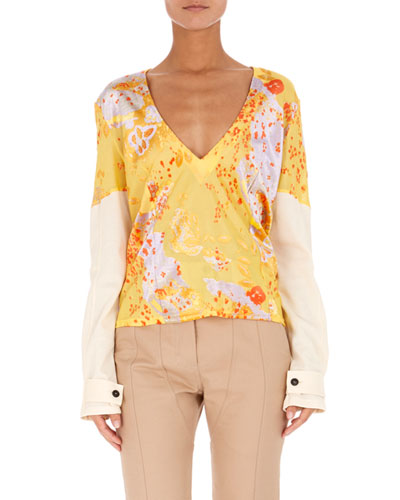 ATLEIN V-Neck Long-Sleeve Burnout Jacquard Top in Yellow Pattern
