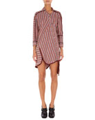 Asymmetric Twisted-Stripe Shirtdress