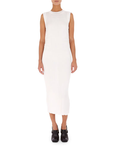 Rib-Knit Long Sheath Midi Dress