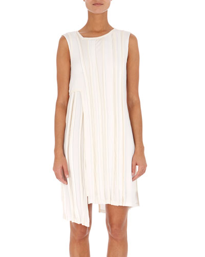 Sleeveless Asymmetric Ribbed Short Dress