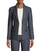 One-Button Notched Lapel Denim Blazer