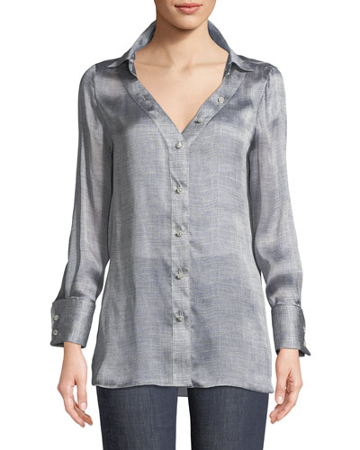 Long-Sleeve Button-Front Mulberry Silk Blouse