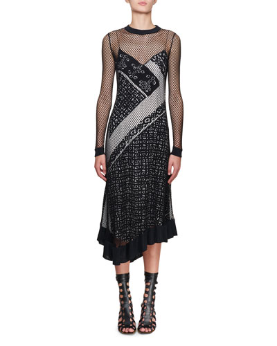 Kleber Fishnet Long-Sleeve Bandana-Print Midi Dress