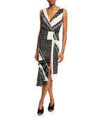 Pavilion Sleeveless Button-Front Bandana-Print Silk Midi Dress