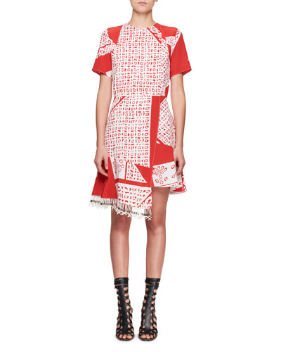 Tournelle Short-Sleeve Bandana-Print Silk Dress