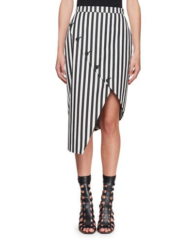 Asymmetric Button-Slit Striped Silk Skirt