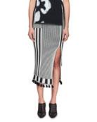 Spire High-Waist Graphic Stripe-Knit Midi Skirt