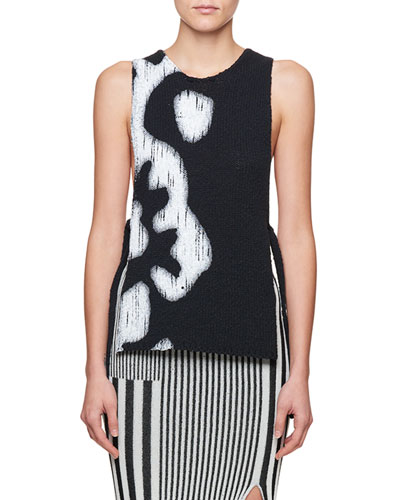 Louis Sleeveless Graphic Side-Tie Sweater Top