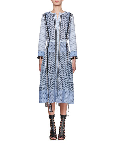 Grenelle Broderie Anglaise-trimmed Swiss-dot Cotton And Chiffon Midi Dress - Sky blue Altuzarra qpiHYQalx