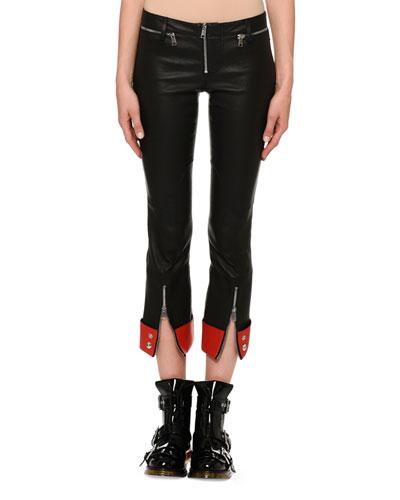 Zip-Front Straight-Leg Leather Pants