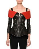 Zip-Front Leather Cold-Shoulder Jacket