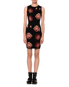 Tapestry Rose-Jacquard Sleeveless Sheath Mini Dress