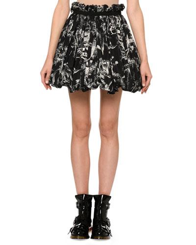 Bird-Sketch Pleated Bubble-Hem Mini Skirt