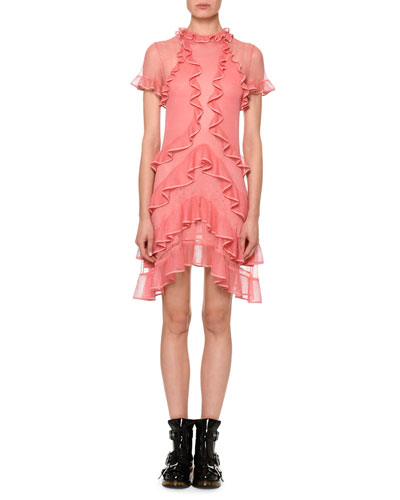 Short-Sleeve Fluid Ruffle On Lace Sheer Mini Dress