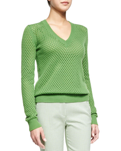 Cashmere-Blend Pointelle V-Neck Sweater, Lawn