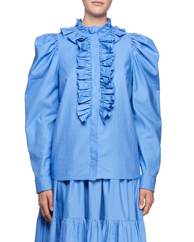 Shaylee High-Neck Puffy-Sleeve Cotton Blouse with Frills