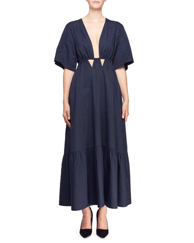 Gabrielle Short-Sleeve Plunging Cutout-Waist Dress