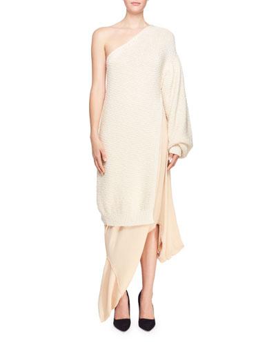 Shaker Knit One-Shoulder Side-Slit Dress