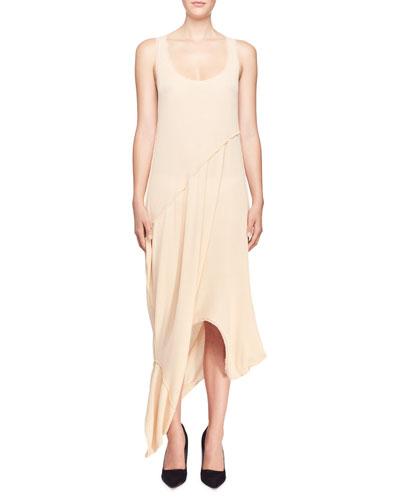 Rib-Knit Reversible Long Draped Sheath Dress