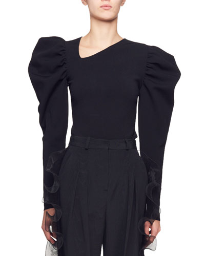 Asymmetric-Neck Puff-Shoulder Long-Sleeve Top