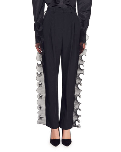 Kayley Trousers with Side Organza Ruffle Trim
