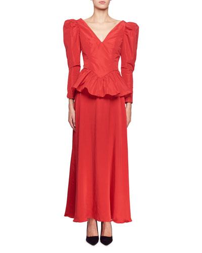 Nathaly Long-Sleeve V-Neck Peplum-Waist Evening Gown