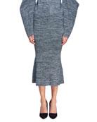 Marled Yarn Pencil Skirt
