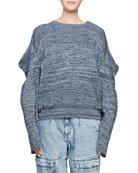 Puffy-Shoulder Long-Sleeve Marled Yarn Sweater
