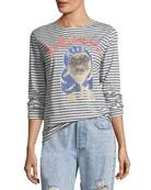 Striped Pug Printed Long-Sleeve T-Shirt