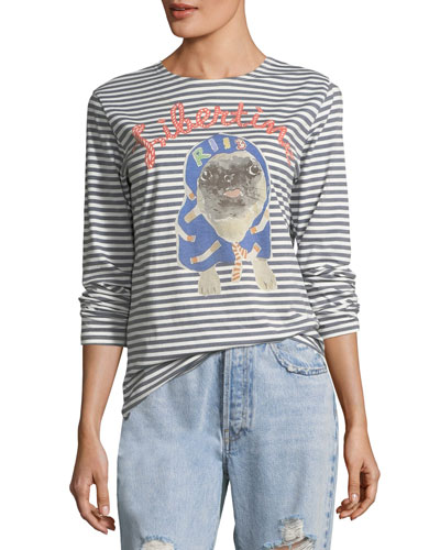 LIBERTINE Striped Pug Printed Long-Sleeve T-Shirt in Blue Pattern