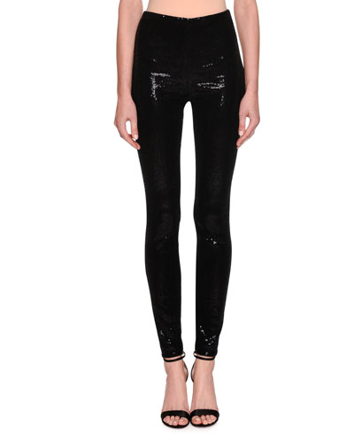 Stretch Paillette High-Waist Leggings