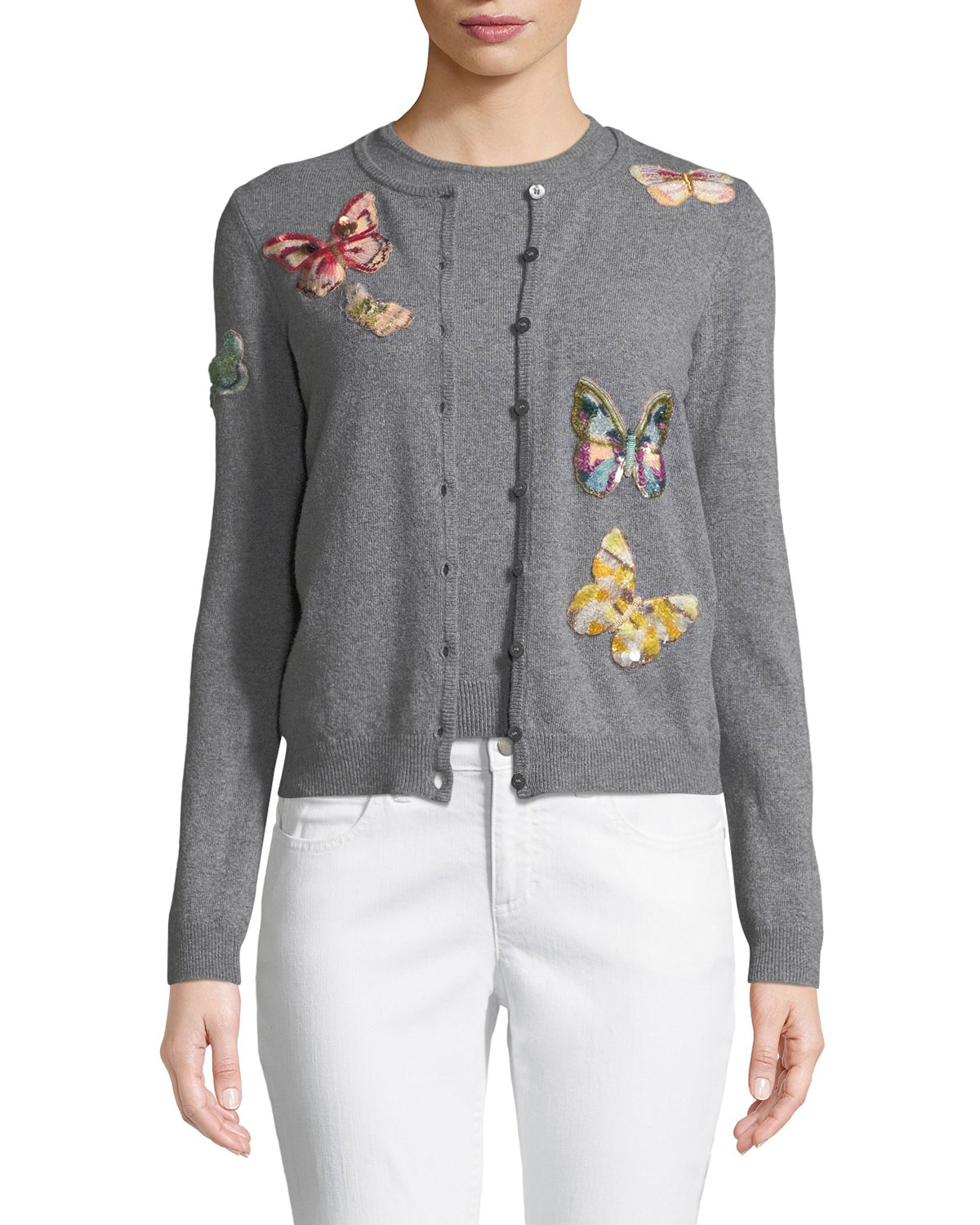 Butterfly-Embroidered Button-Front Wool-Cashmere Cardigan Set