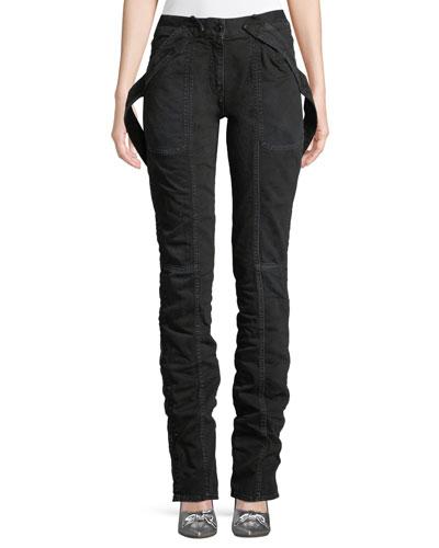 Cargo Straight-Leg Denim Jeans