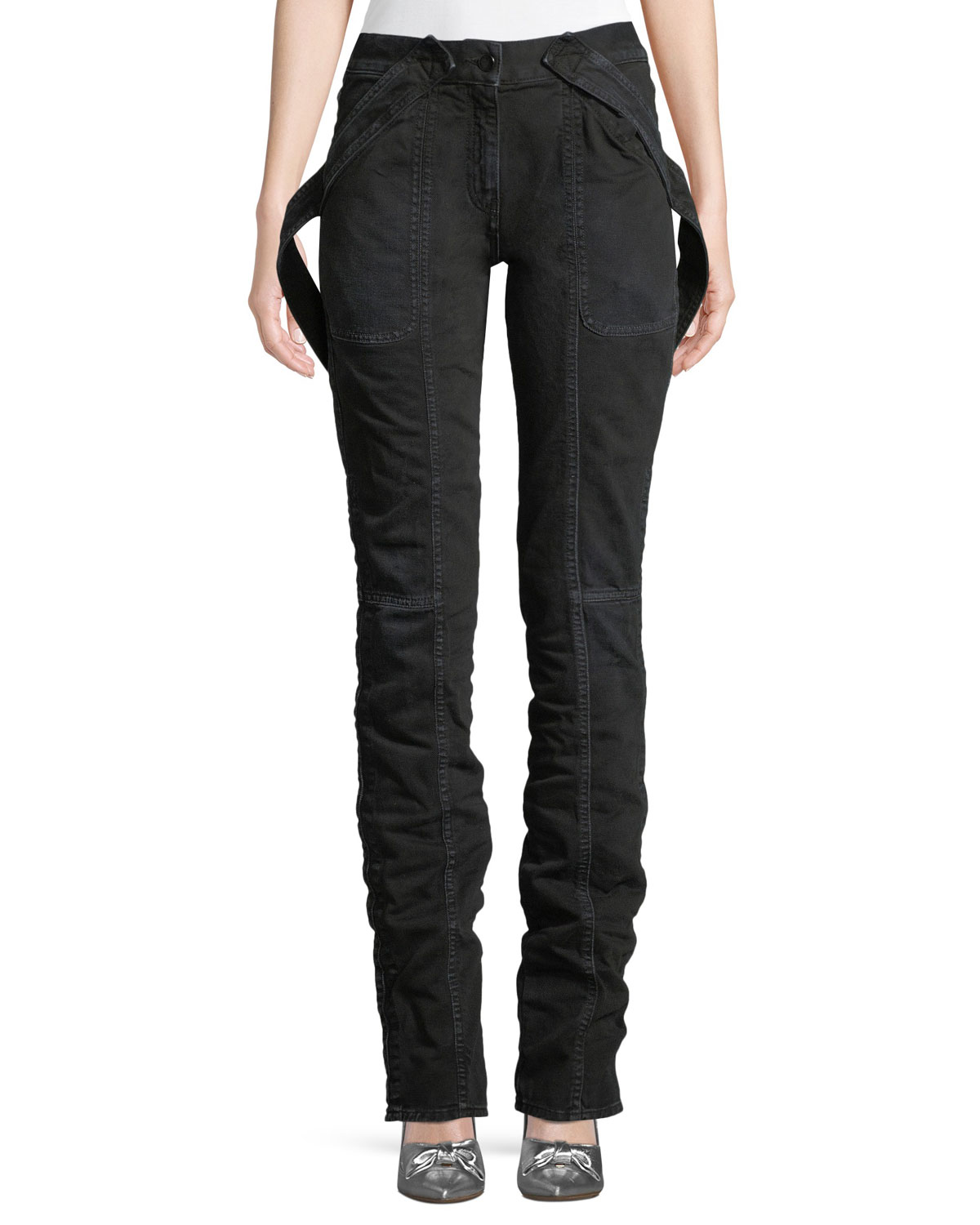 Cargo Straight-Leg Denim Jeans