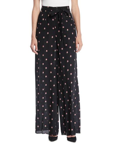 Valentino Rosebud-Print Wide-Leg Silk Pajama Pants
